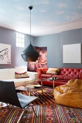 vardagsrum mix modern klassisk vintage kelim tom dixon lampa